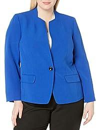 Kasper 女士弹力绉纱单扣立领夹克