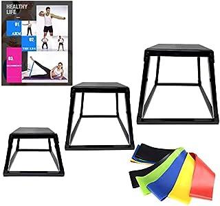 Plyometric Box 套装,黑色多计防水台带阻力环锻炼带,跳跃敏捷盒套装,3 种尺寸 30.48 厘米,45.72 厘米,60.96 厘米,多计平台 3 件套,完美设计,适合跳跃运动训练和调理,适合健身房或家庭使用