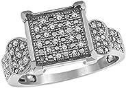 Trillion Jewels 0.21 克拉圆形切割钻石订婚戒指 女式 14K 白金