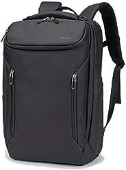 BOCURA 笔记本电脑背包男式商务背包防水适合 17.3 英寸(约 43.9 厘米)带 USB 充电线旁路,适合上班上学旅行多功能休闲背包(黑色)