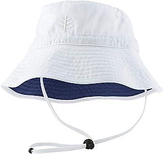 Coolibar 男童幼童 Sun 女孩 UV 防护 50 Plus 下巴带帽子,白色,小号/中号