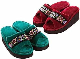 雪尼尔编织 厚底轻松拖鞋 丝绸绿色 L