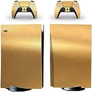Adventure Games - 碳纤维,金色 - 乙烯基控制台皮肤贴花贴纸 + 2 个控制器皮肤套装 - 兼容 PlayStation 5 标准版