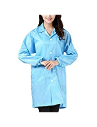 Sidiou Group 防静电外套工作服防尘保护服装可重复使用实验室外套男女适用