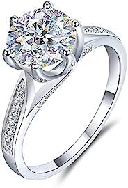 boya 女式订婚戒指 2 克拉钻石莫桑石结婚戒指 定情周年纪念 6 爪 18K 镀金 925 纯银女士戒指