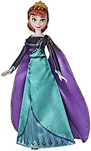 Disney 冰雪奇缘 2 女王安娜时装娃娃、连衣裙、鞋子和长红发,适合 3 岁以上儿童玩耍