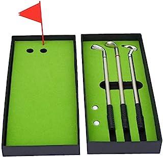 高尔夫球笔套装,迷你桌面高尔夫球笔礼品套装,迷你桌上游戏,包括推杆*,旗帜 3 支高尔夫球杆笔和 2 只球,高尔夫球爱好者文具装饰高尔夫办公室休闲游戏