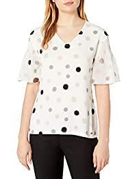 Calvin Klein 女士 女式印花 V 领雪纺衬衫