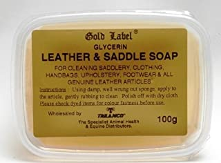 Gold Label 马鞍皂,100克 - 甘油皂用于清洁马鞍、服装、手提包、室内装饰、鞋类和所有真皮产品。