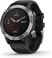Garmin fēnix6 Ultimate Multisport GPS手表,V02 Max调整热量和海拔高度,集中脉冲氧传感器和训练负荷,银色,带黑色带