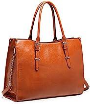 女式笔记本电脑包 15.6 英寸(约 39.1 厘米)防水轻质皮革电脑托特包 商务办公公文包 大容量手提包 单肩包 专业办公工作包(棕色)