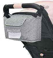 Kozigoods 婴儿推车收纳袋防滑带隔热杯架湿巾袋,大号婴儿车收纳袋,有多个口袋,方便存放和可拆卸肩带