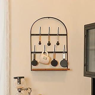 SOFFEE DESIGN 壁挂式咖啡杯架,家庭储物杯展示架,带 7 个挂钩和木架,用于厨房柜台展示和收藏,拱形形状