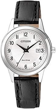 Citizen 西铁城 女式 指针式太阳能手表 带皮革表带 FE1081-08A,White/Black