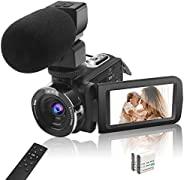 4K 摄像机摄像机视频摄像机适用于 YouTube 超高清 4K 48MP 18X 数码变焦摄像机,带麦克风遥控器,3 英寸触摸屏和 2 节电池