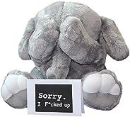 害羞的小象 - 可爱的超软填充动物毛绒玩具 - 专为儿童和成人设计 - 灰色