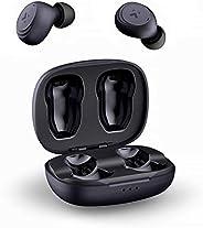 AUKEY True 无线耳塞,蓝牙 5.0 耳机,沉浸式低音声音蓝牙耳机入耳式,30 小时播放时间,触摸控制带集成麦克风作为耳机,适用于 iPhone 和 Android,三星和华为