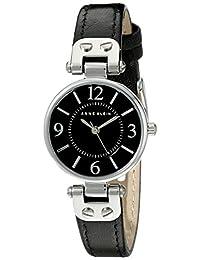 Anne Klein 10/9442 女士皮革表带手表,黑色/银色
