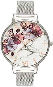 Olivia Burton 大理石花卉白色表盘女式手表 OB16MF09