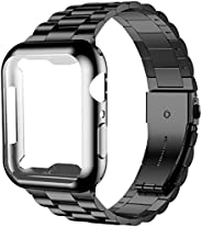 iiteeology 兼容 Apple Watch 表带 44 毫米带屏幕保护膜保护套,[*] 不锈钢链接替换表带,适用于 iWatch 系列 5 4 黑色/黑色