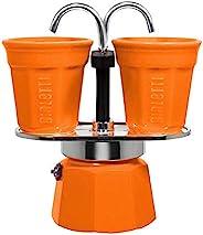 Bialetti Mini Express Color 咖啡壶套装 2 个杯子 + 2 个杯子 铝 Arancione 0007304