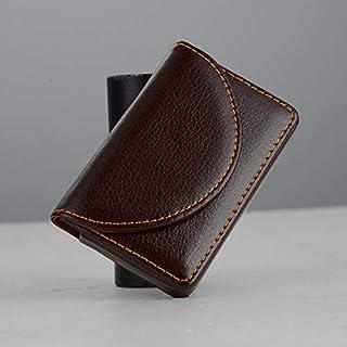 皮革名片夹,男士或女士口袋名片钱包,名片盒固定(棕色)