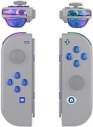 eXtremeRate 7 种颜色 9 种模式 NS Joycon DFS LED 套装,多色发光变色龙紫色蓝色经典符号 ABXY 触发面按钮 适用于 Nintendo Switch Joy-Con 控制器 - 不包括