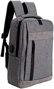 HONGGU 旅行笔记本电脑背包,带 USB 充电端口,防水商务背包,适合女士男士 灰色 Large