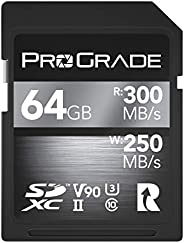 SD 卡 V90 - 高达 250MB/s 的写入速度和 300 MB/s 读取速度 | 适用于专业录音师、电影制作者、摄影师和内容记录器 - 包括更新固件 - 由 ProGrade Digital 出品 64GB