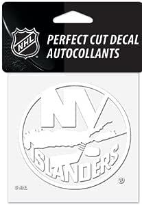 WinCraft NHL 纽约岛人队徽标 10.16cm x 10.16cm 室外白色贴花