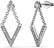 Cate & Chloe Francesca 令人难以置信的白金耳坠,18k 镀金 V 型带施华洛世奇水晶的耳钉套装,带悬挂 V 型耳环,吊坠耳环带施华洛世奇水晶,MSRP -