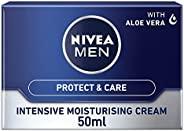Nivea 妮维雅 男士保湿面霜,用于干性皮肤面部润肤霜,含芦荟和维生素E,50ml,3件装