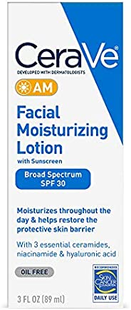CeraVe AM Facial Moisturizing Lotion SPF 30 | Oil-Free Face Moisturizer with Sunscreen | Non-Comedogenic | 3 O