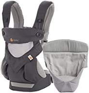 Ergobaby 360 Cool Air 婴儿背带(含婴儿兜座,4合1婴儿助背系统,前后均可背),炭灰色
