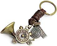 AuPra 生命时钟 法国角 皮革钥匙圈 *好的朋友礼物 创意 女士 男士 音乐 O'Clock 魅力 家庭钥匙链 妈妈和爸爸老师 手提包 汽车钥匙