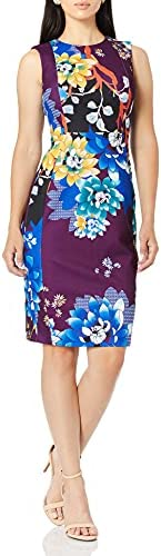 Calvin Klein Scuba Crepe 女士无袖缝鞘公主裙