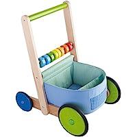 HABA Color Fun Walker Wagon - 带木框的推玩具,织物隔层和大型结实的车轮