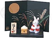药师窑 福兔子 锦彩十五夜兔(见月)(小) 牛 高 兔子 5cm、2.5cm 和乐绘 1221