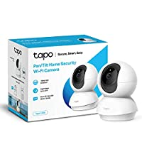 TP-Link Pan/Tilt Security Camera, Indoor CCTV, 360 Degree Rotational Views, Works with Alexa & Google Home, No Hub Required, 1080p, 2-Way Audio, Night Vision, SD Storage, Free Tapo App (Tapo C200)