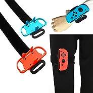适用于 Just Dance 2019 环状冒险和腕带,可调节弹性运动腿部固定带和腕带与 Nintendo Switch 游戏兼容 - 2 件装