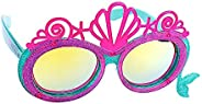 Disney Princess 小美人鱼 Ariel Lil' 人物贝壳皇冠太阳镜,即刻服装人物派对喜爱遮阳帽 UV 粉