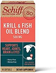 Schiff Omega-3 软胶囊,鱼油 + 高吸收南极磷虾油混合物,500mg(每瓶40粒),高浓度的鱼油和高吸收的磷虾油补充剂