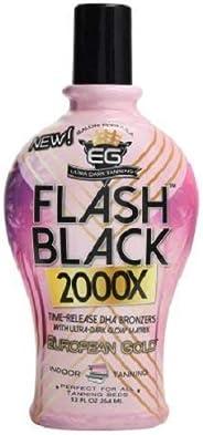 European Gold 闪光黑色 2000X 室内美黑乳液,含缓释 DHA 古铜色,12 盎司(约354.84 毫升)