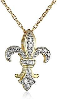 10金 黄金 水洗纹银 钻石 全钻 吊坠 项链(1/4 Cttw、J色、I3透明度)