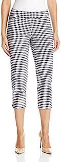 SLIM-SATION 女士宽带松紧式格子印花露脐裤梯褶边细节