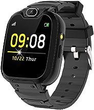 男孩女孩儿童智能手表 - 儿童智能手表带电话摄像头游戏录音机 3 个闹钟音乐播放器计算器 儿童智能手表手机适合 4-12 岁儿童学生(黑色)