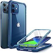 i-Blason Ares 手机壳适用于 iPhone 12、iPhone 12 Pro 6.1 英寸(2020 年发布),双层坚固透明保险杠保护套带内置屏幕保护膜(蓝色)