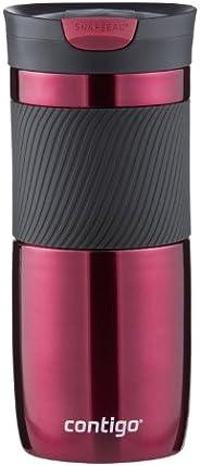 Contigo SnapSeal Byron 真空绝缘不锈钢旅行杯,16盎司(约473.12毫升),鲜艳的
