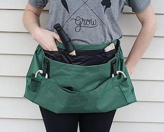 Roo Garden 围裙-The Joey - 园艺、工作和收获工具腰带,带储物口袋和帆布袋 - 女式均码 - 棉帆布,可机洗 叶绿 均码 4336454270
