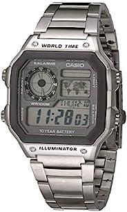 Casio 卡西欧 男式 10 年电池石英手表不锈钢表带,银色,24.1(型号:AE-1200WHD-7AVCF)